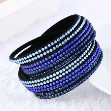 ELEGANT LEATHER Slake BRACELET MADE WITH SWAROVSKI CRYSTALS BLUE / CLEAR NEW