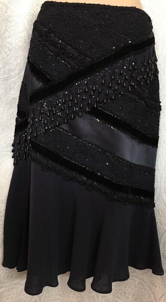 Escada Skirt Navy Beaded And Sequined Silk With Velvet Größe 10