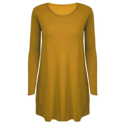 Womens swing Dress Ladies Long Sleeve Skater Flared Dress lot 8-26 new Girls Top