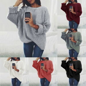 Femme-Col-Rond-Manches-Longues-Pull-Tricote-Automne-Hiver-Decontractee-Hauts
