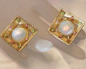 Vintage-High-End-White-Moonglow-amp-Rhinestone-Elegant-Clip-On-Back-Earrings