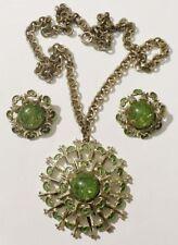 parure collier boucles d'oreilles clips bijou vintage coul or émail vert * 3705