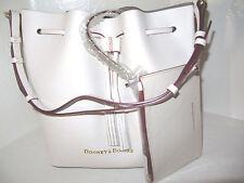 Dooney & Bourke EG139 Serena Bone & Taupe Large Leather Drawstring Bag NWT $348
