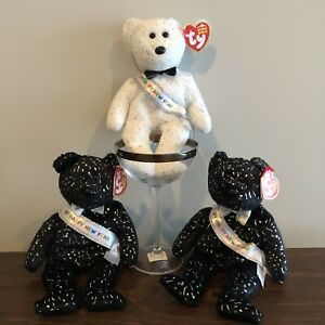 """3 Ty """"2007"""" Happy New Year Beanie Babies (1 White/Silver & 2 Black/Silver)"""
