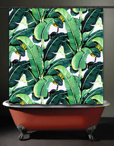 Image Is Loading Brazilliance Banana Leaf Shower Curtain Tropical  Jungle Martinique