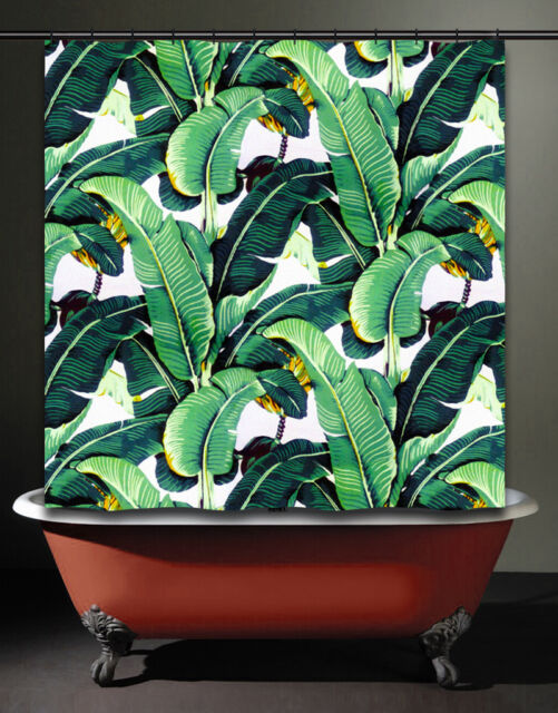 AS IS DEFECT CLEARANCE Brazilliance Banana Leaf Shower Curtain Martinique Palm