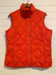 LANDS-END-Women-s-Orange-Quilted-Down-Filled-Puffer-Vest-Size-Small-6-8