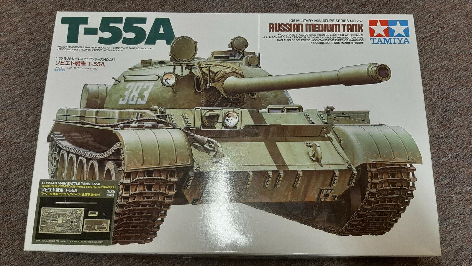 1 35 Tamiya T-55A inkl. Aber Ätzteile, Modelkasten Ketten und SKP Linsen OVP