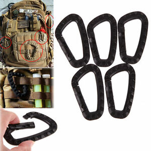 5pcs Outdoor Carabiner D-Ring Key Chain Clip Hook Camping Plastic Buckle