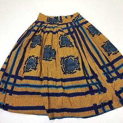 Hitarget Wax 30\u201d Waist Women\u2019s Vintage 90s African Wax Block Print Skirt Batik Tribal Skirt Ethnic Skirt Yellow