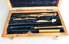 Vintage technical drawing tools PART SET wood box 1940 geometry instruments WW2