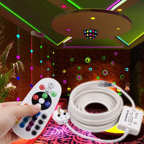 220V LED Neon Sign Flex Strip Light Tube Flexible Rope Cool Warm White RGB Lamp