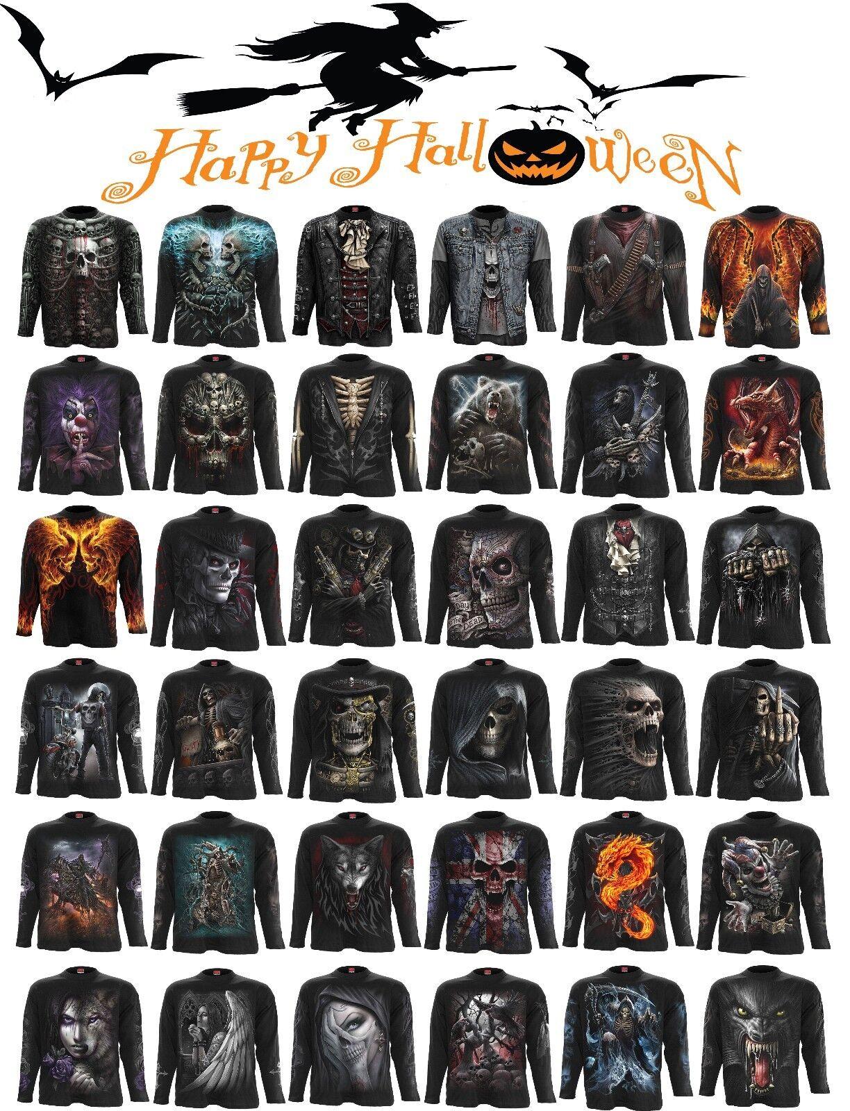 Spiral Direct HALLOWEEN Costume Reaper Skull Goth Horror Skeleton LongSleeve Top