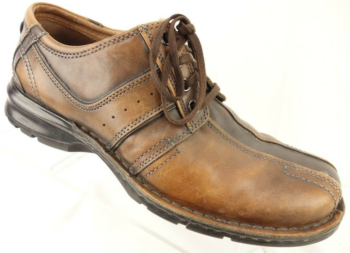 CLARKS Oxford shoes Mens 10.5 M Brown Leather Square Bicycle Toe Casual