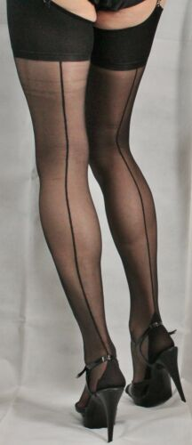 3 pairs Extra Large Black French//Point heel Seamed 15 Denier Stockings HQ