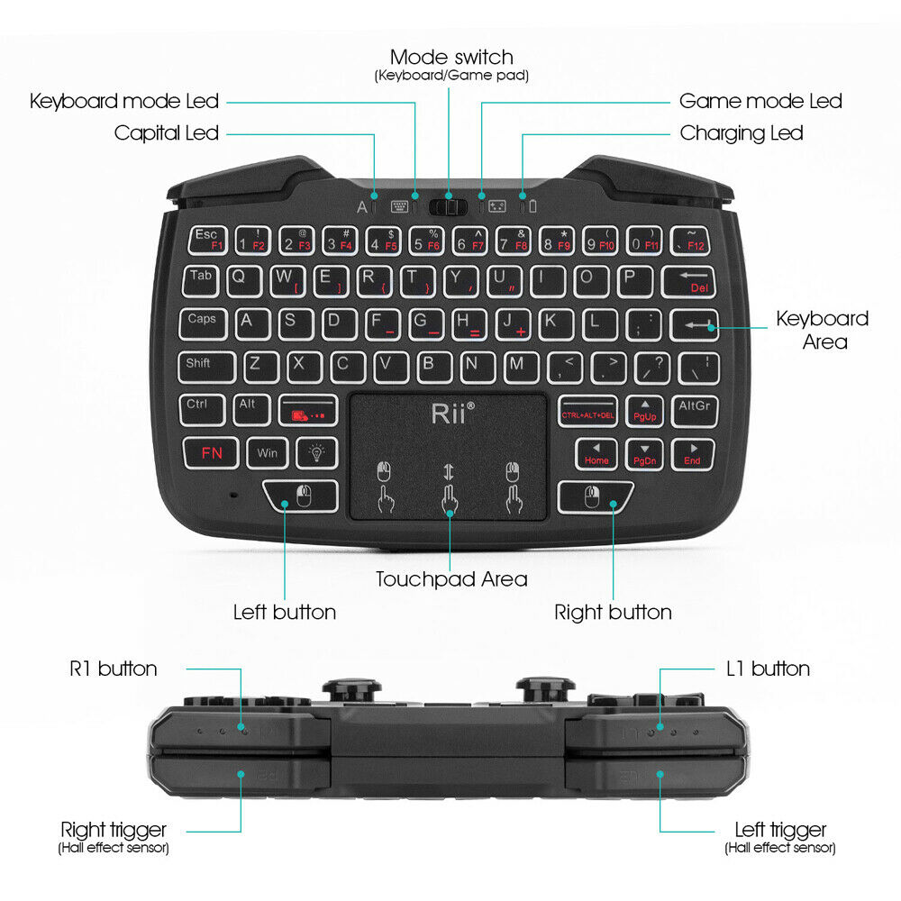 Rii RK707 2.4GHz Wireless Game Controller Keyboard TurboVibration Function H9C7
