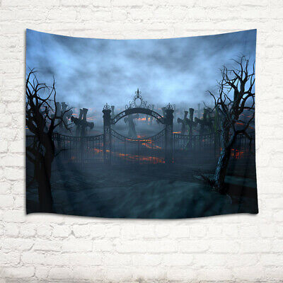 Halloween Villa Courtyard Grave Gate Tapestry Wall Hanging Living Room Bedroom