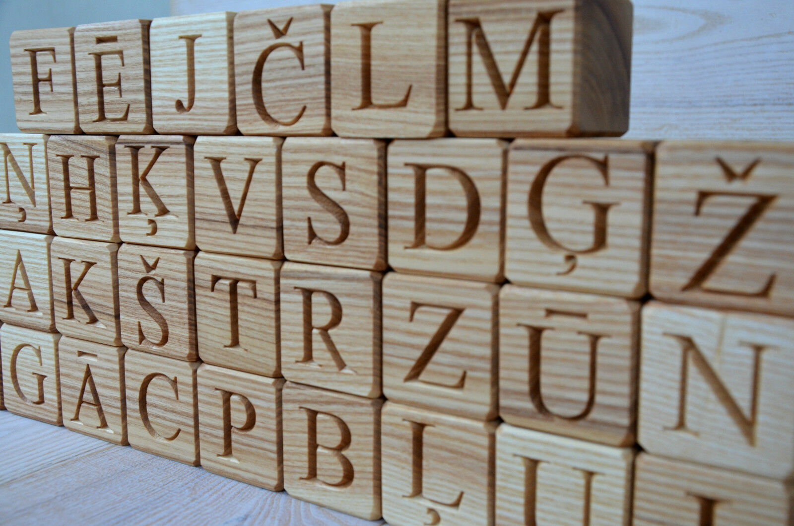33 Latvian Alphabet Wood Blocks Wood Cubes with Letters ABC Blocks