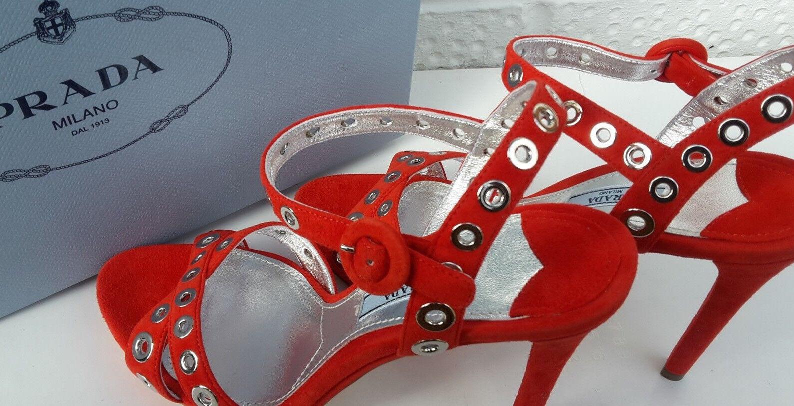 PRADA Luxury Heel  Sandals 7 40.Rosso.Acquista Nuovo  miglior servizio