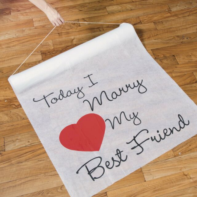 100' TODAY I MARRY MY BEST FRIEND Red Heart Wedding Ceremony Aisle Runner White