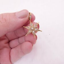 15ct gold Victorian natural seed pearl art nouveau period star pendant, 15k 625