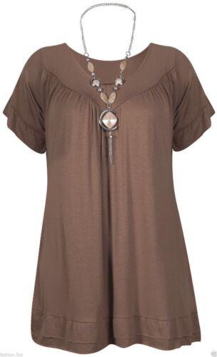 Womens Ladies Gypsy Chain Top Ladies Plus Size Short Sleeve Tunic Top UK 12-24**