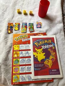 Pokemon-Yahtzee-Jr-Replacement-Parts-amp-Pieces-Only-3-Dice-w-17-Tokens-amp-Board