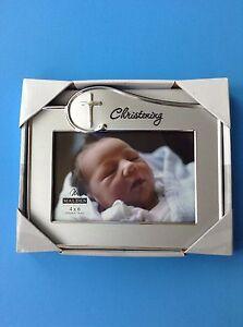 Malden International Designs Baptism Christening Wave 2-Tone Picture Frame Silver 4x6