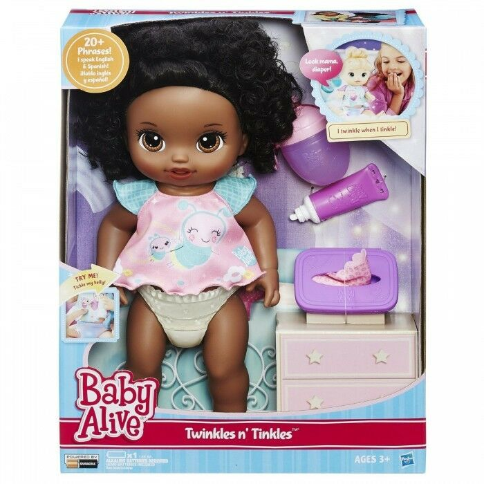 Baby Alive Twinkles N 'Spurt  afroamericano  BAMBOLA INTERATTIVA PARLA Eng.