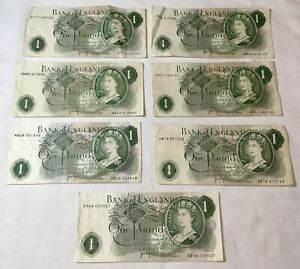 7 x VINTAGE BANK OF ENGLAND JB PAGE ONE POUND BANKNOTES