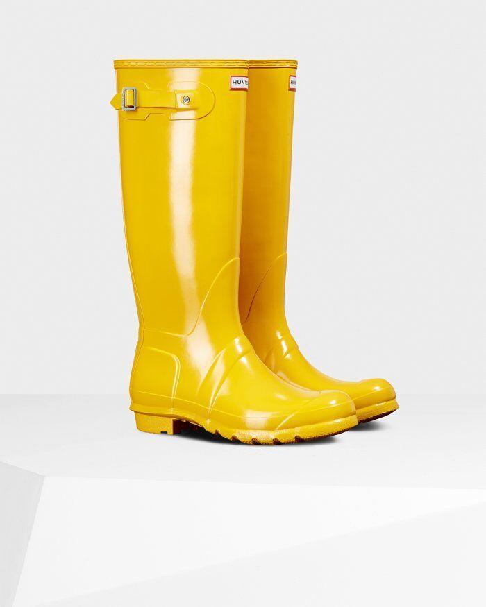 Hunter Original Tall Rain Boots Yellow Gloss Size 8