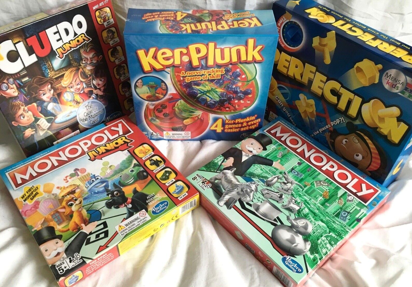 NEW LATEST BOARD GAMES MONOPOLY + JNR KER PLUNK PERFECTION CLUDO CHOICE OF 5