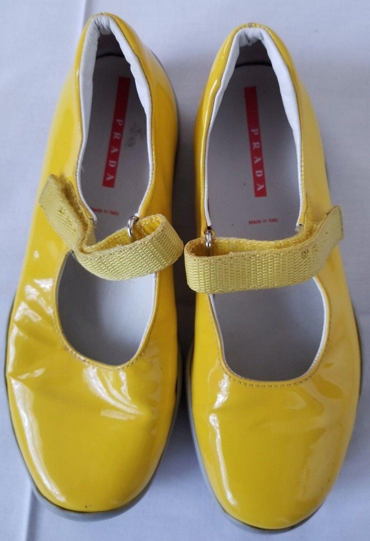 Zapatos de Cuero Cuero de niñas Talla 32 Amarillo Estilo Mary Jane Bailarina Plana Prada (Seminuevo) 617b54