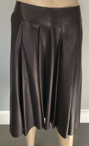 Gorgeous Pleated Brown Leather Skirt by TSE sz 6