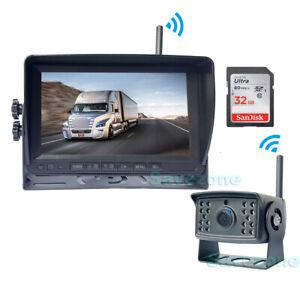 "HD 1080P Digital Wireless Backup Camera + 7"" Car DVR Monitor for RV Bus 32GB SD"