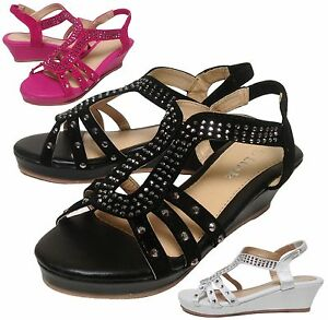 New Kids Girls Keyhole Gladiator Stretch Slingback Wedge Sandal Shoe Size 9 to 3