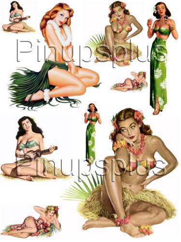 Hawaiian Tiki Pin-up pinup girl stickers vinyl decals Coupe Peel /& Stick #1008