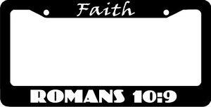 image is loading faith romans 10 9 christian license plate frame