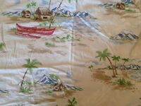 Pottery Barn Kid Blue Island Toile Crib Sheet Toddler Bed Boy Surf Hawaiian