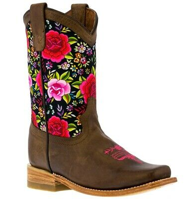 Kids Western Cowboy Boots Flowers Brown Cowgirl Square Toe Bota Rancho