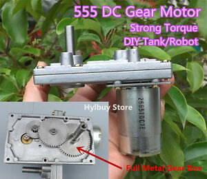 Strong Torque 555 DC 12V-24V Gear Motor Metal Gear Slow Speed Tank Robot DIY