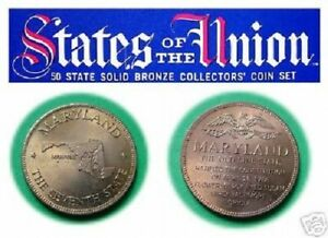MARYLAND-Franklin-Mint-Beautiful-Solid-Bronze-State-Coin-Uncirculated