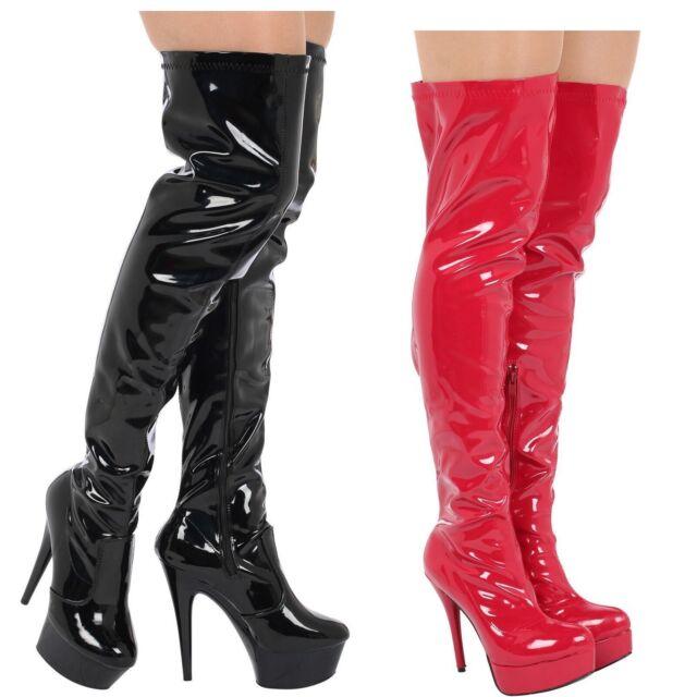 71529a055f5 WOMENS LADIES PARTY THIGH HIGH FETISH PLATFORM STILETTO HEEL FULL ZIP BOOTS  3-8