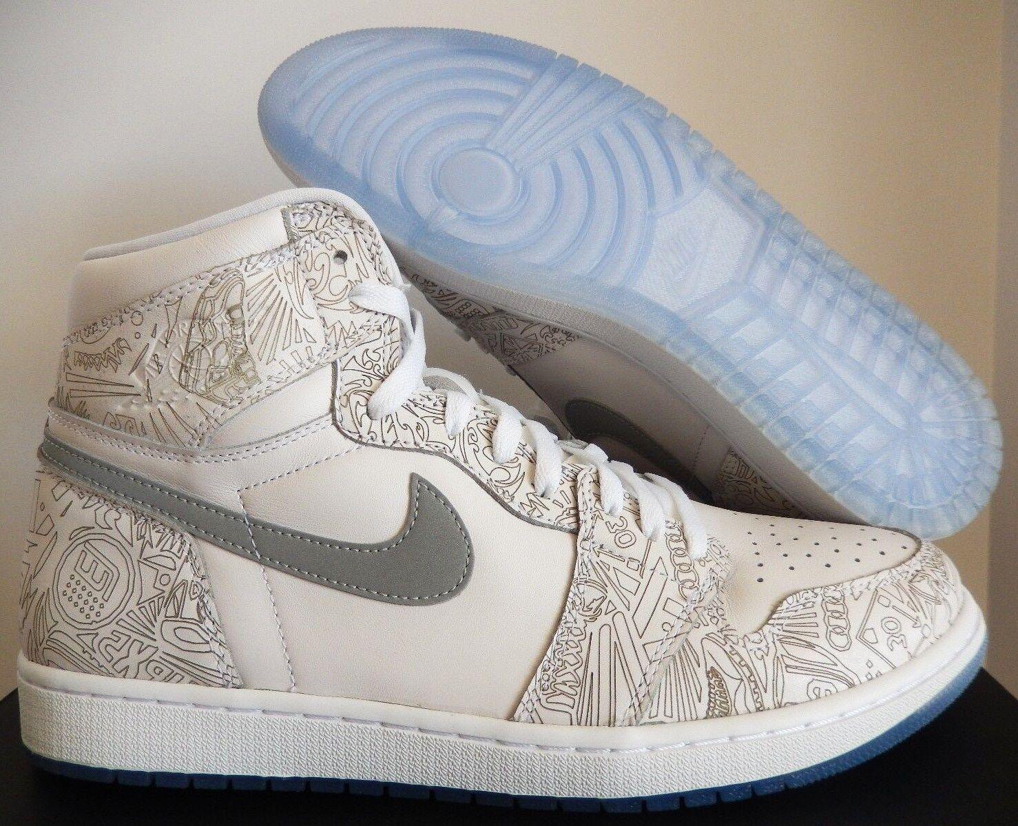 Nike Air Jordan 1 Láser Retro Alta OG Láser 1 Blanco-Plata Metalizado [705289-100] 3adb0b