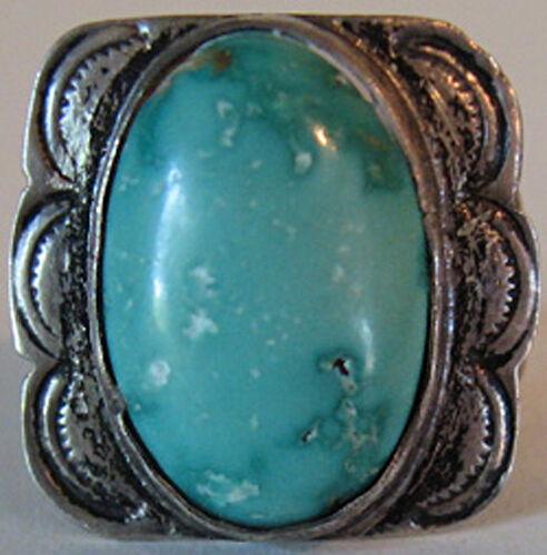 1930's Vintage Navajo Indisch Stempel Silber & Blau Türkis Ring *