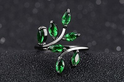 Size 6,7,8,9,10 Womens Cute Emerald Black Stainless Steel Fashion Wedding Rings