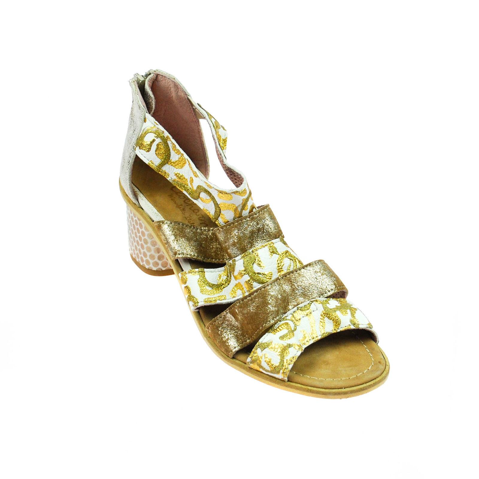Fascino Sandalo Da Donna Scarpe Basse Aperta in Pelle oro Marronee Bianco Taglia 37