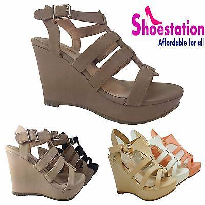 Womens Fashion T-Strap Sandals Wedge Platform Shoes Open Toe Buckle Ankle Strap