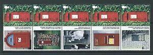 Grossbritannien-2009-Post-Boxen-Streifen-5-Verschiedene-Befestigt-Postbox-Labels