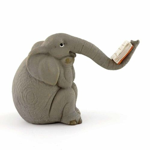 Elephant Reading Book With His Trunk Miniature Figurine Dollhouse 4564